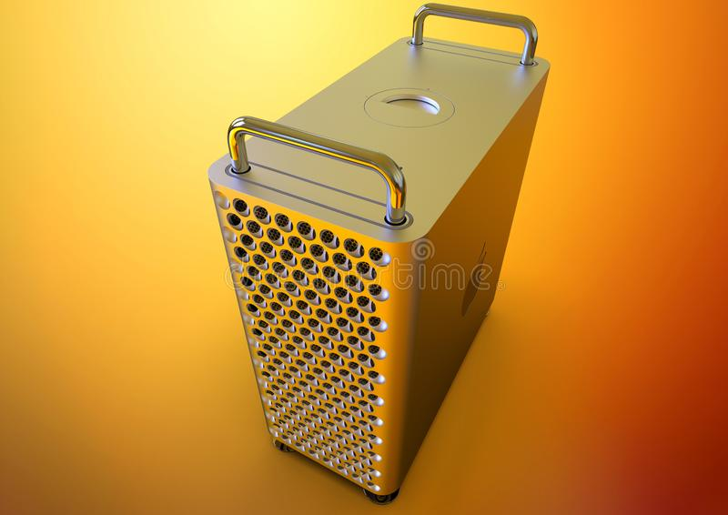Apple Mac Pro 2019 desktop computer, colorful perspective. June 3, 2019 - San Jose Convention Center, California: Apple Special Event WWDC Keynote. Apple Mac Pro royalty free illustration