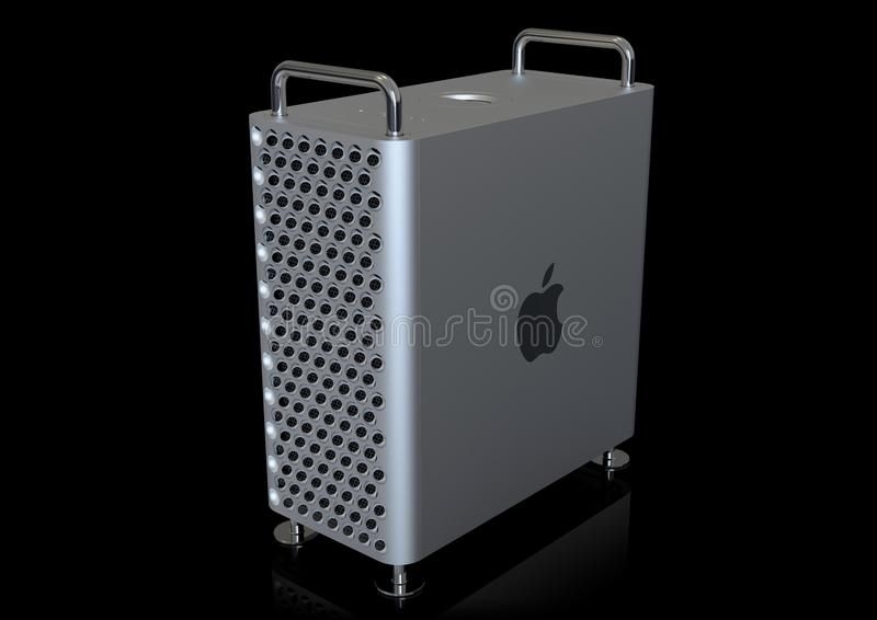 Apple Mac Pro 2019 desktop computer, perspective on black. June 3, 2019 - San Jose Convention Center, California: Apple Special Event WWDC Keynote. Apple Mac Pro royalty free illustration