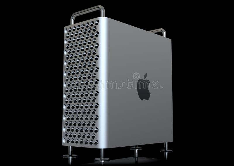 Apple Mac Pro 2019 desktop computer, perspective on black. June 3, 2019 - San Jose Convention Center, California: Apple Special Event WWDC Keynote. Apple Mac Pro stock illustration