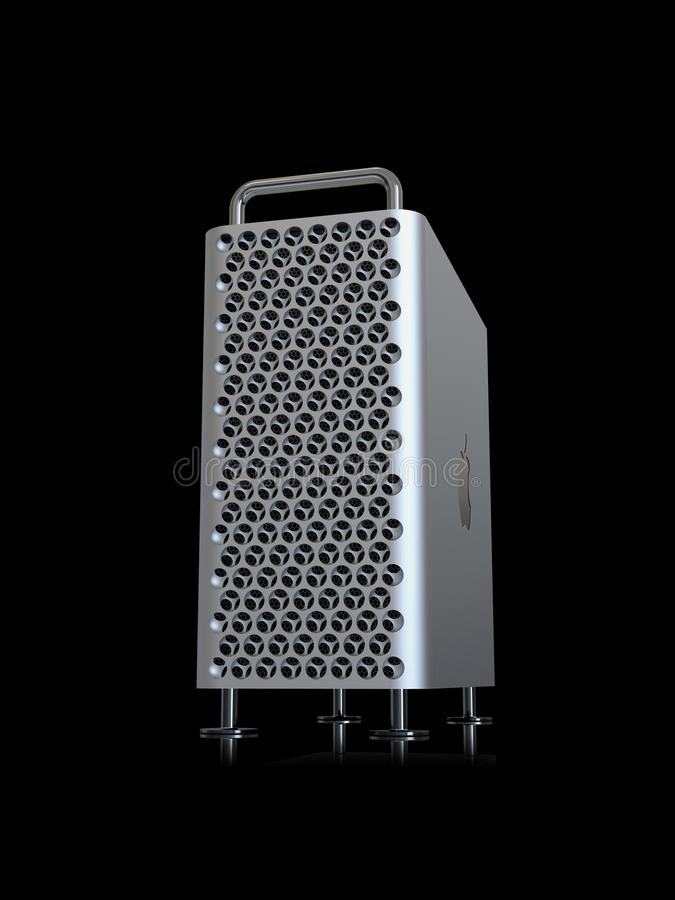 Apple Mac Pro 2019 desktop computer, vertical perspective. June 3, 2019 - San Jose Convention Center, California: Apple Special Event WWDC Keynote. Apple Mac Pro royalty free illustration