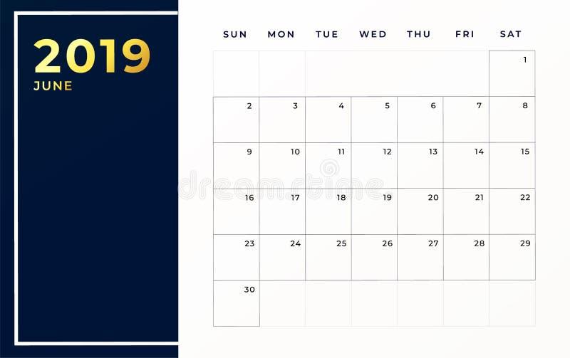June 2019 schedule template. Week starts on sunday empty calendar month stock illustration