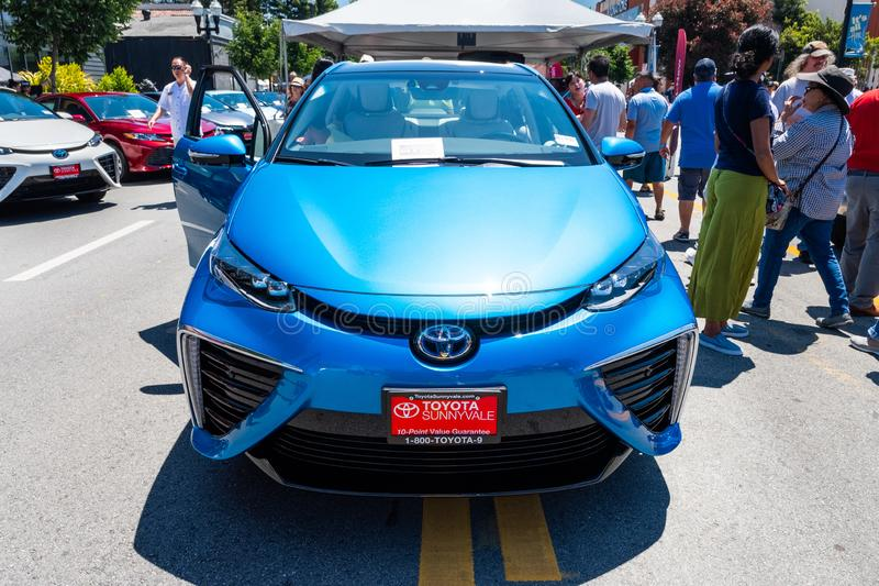 June 2, 2019 Sunnyvale / CA / USA - The Toyota Mirai fuelcell car a mid-size hydrogen fuel cell car manufactured by Toyota on stock image
