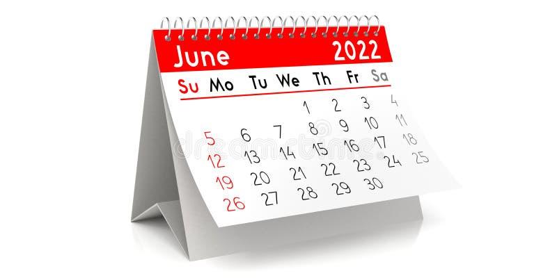 Computer Desktop Calendar 2022.June 2022 Table Calendar 3d Illustration Stock Illustration Illustration Of Standing Time 179681147