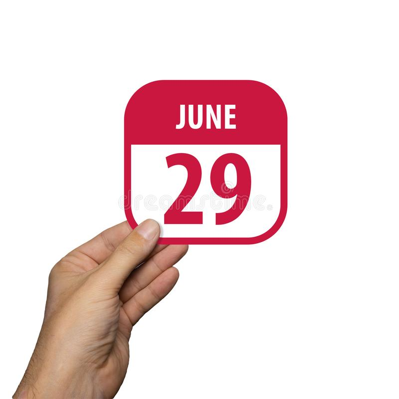 June 29th. Day 29 of month,hand hold simple calendar icon with date on white background. Planning. Time management. Set of. June 29th. Day 29 of month, hand hold stock image