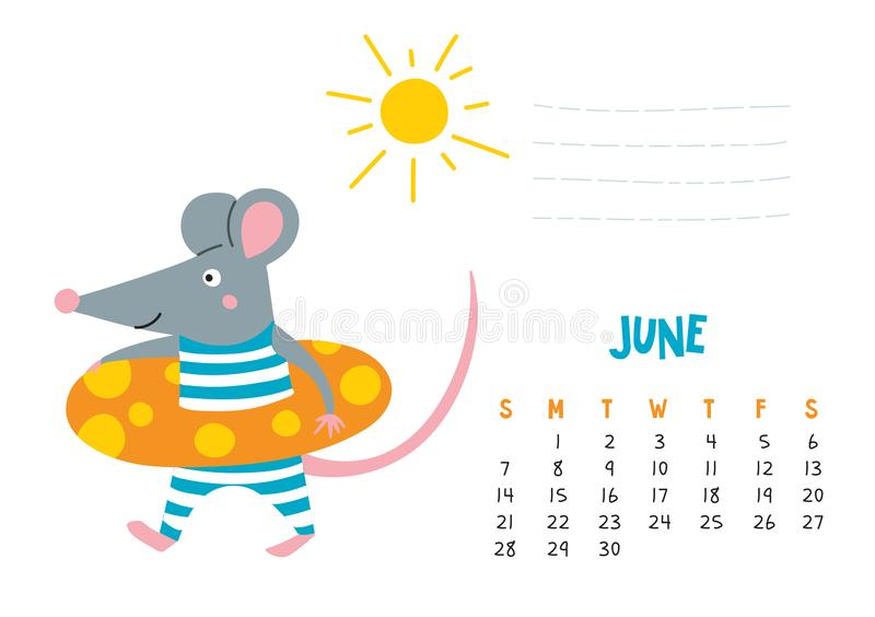 June. Vector calendar page with cute rat at beach - Chinese symbol of 2020 year. Editable template A5, A4, A3 size, can be printed and used as a desk, table stock illustration