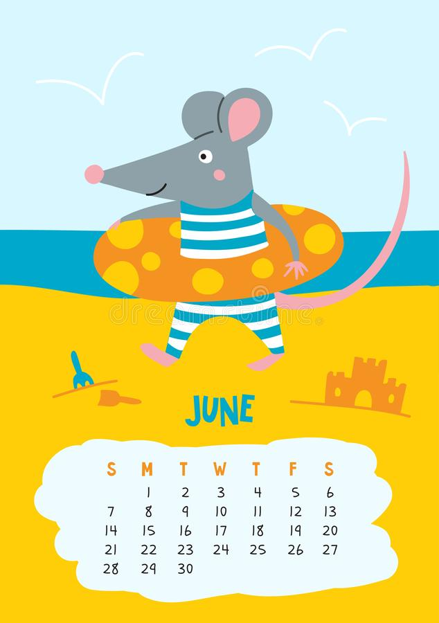 June. Vector calendar page with cute rat at beach - Chinese symbol of 2020. Year. Editable template A5, A4, A3 size, can be printed and used as a desk, table vector illustration