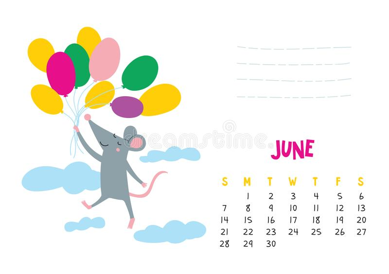 June. Vector calendar page with cute rat in travel - Chinese symbol of 2020 year. Editable template A5, A4, A3 size, can be printed and used as a desk, table vector illustration