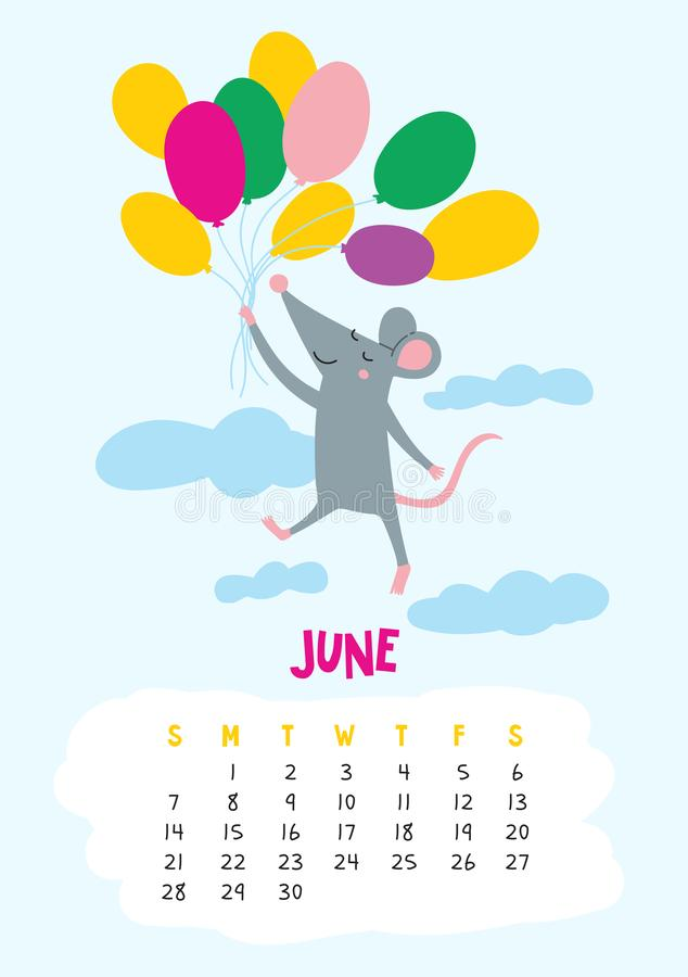 June. Vector calendar page with cute rat in travel - Chinese symbol of 2020 year. Editable template A5, A4, A3 size, can be printed and used as a desk, table stock illustration
