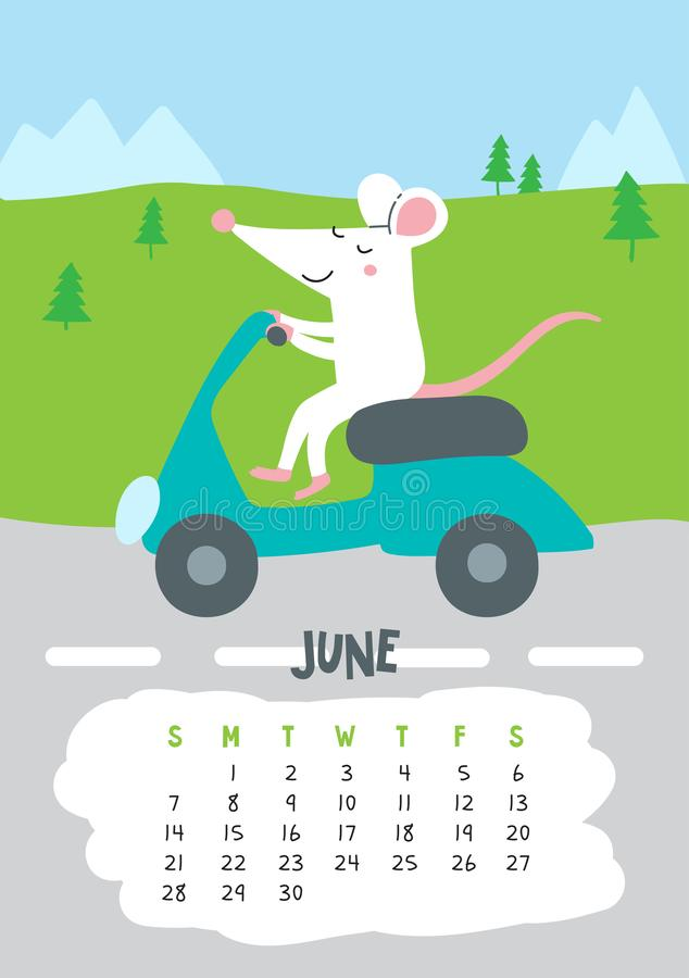 June. Vector calendar page with cute rat in travel - Chinese symbol of 2020 year. Editable template A5, A4, A3 size, can be printed and used as a desk, table royalty free illustration