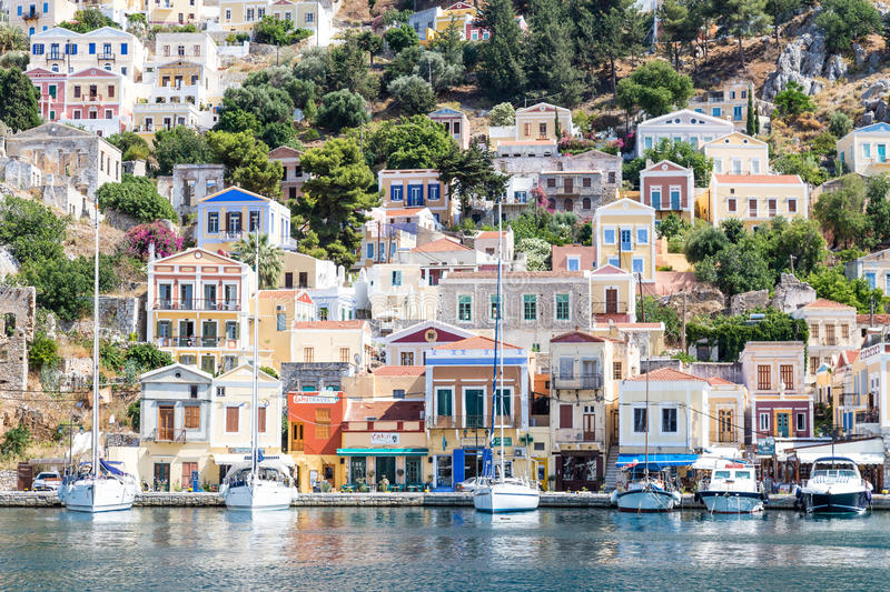 22 JUNE 2017. View of the bay at Symi, Greece. 22 JUNE 2017. View of the bay at Symi island, Greece stock photography