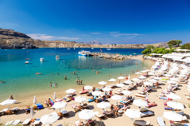 21 JUNE 2017. View of the beach in Lindos town. Rhodes, Greece royalty free stock photo