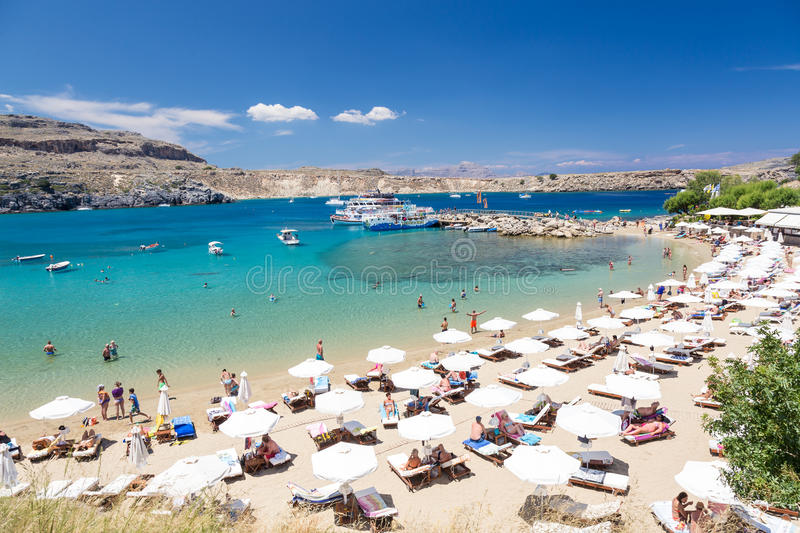 21 JUNE 2017. View of the beach in Lindos town. Rhodes, Greece. 21 JUNE 2017. View of the beach in Lindos town. Rhodes , Greece stock image