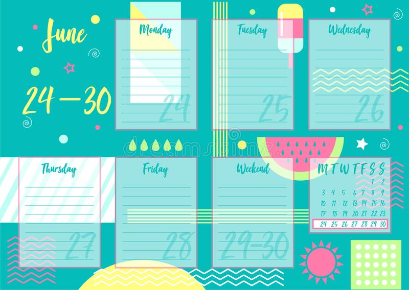 June 2019 Weekly planner. Vector illustration of June 2019 Weekly planner with abstract summer background. For print notebooks, format A5. Cute page for notes stock illustration