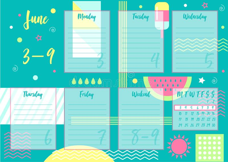 June 2019 Weekly planner. Vector illustration of June 2019 Weekly planner with abstract summer background. For print notebooks, format A5. Cute page for notes royalty free illustration
