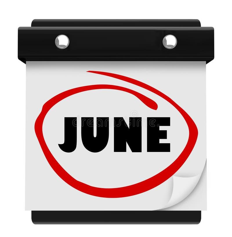June Word Wall Calendar Change Month Schedule stock illustration