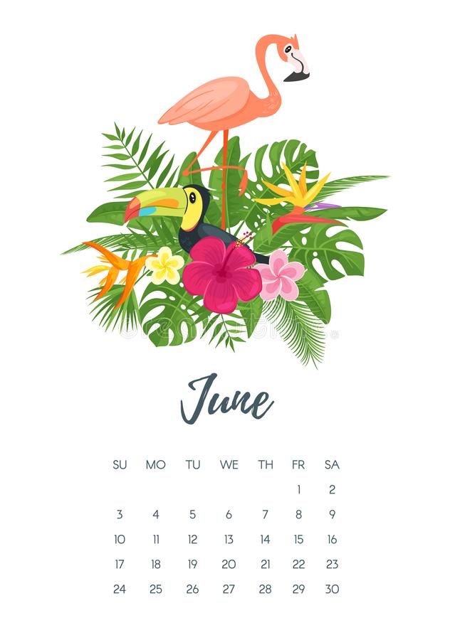 June 2018 year calendar page. Vector cartoon style illustration of June 2018 year calendar page with floral composition with tropical leaves, flowers, toucan and royalty free illustration