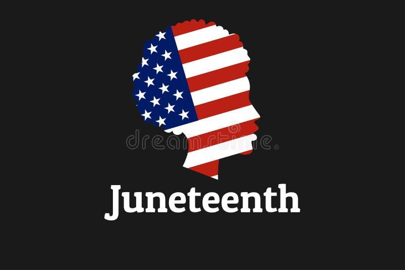 Juneteenth自由,解放,美国独立日 6?19? 与国旗的非裔美国人的女孩剪影  库存例证