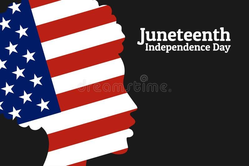 Juneteenth自由,解放,美国独立日 6?19? 与国旗的非裔美国人的女孩剪影  向量例证