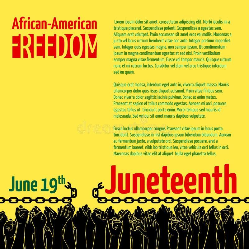 Juneteenth, Afrikaans-Amerikaanse Onafhankelijkheidsdag, 19 Juni Dag van Vrijheid en Emancipatie stock illustratie