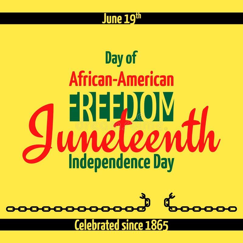 Juneteenth, afro-amerikanischer Unabhängigkeitstag, am 19. Juni Tag der Freiheit und der Emanzipation vektor abbildung