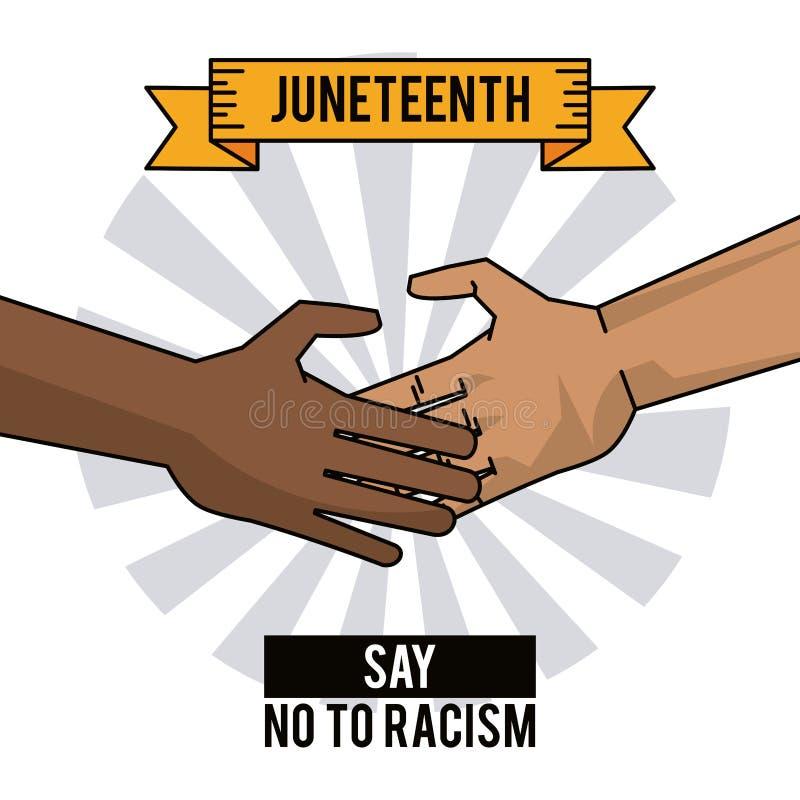 Juneteenth-Tageshände lehnen Rassismus ab stock abbildung