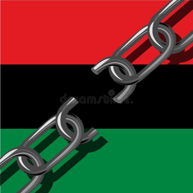 Juneteenth, Vrijheidsdag Afrikaans-Amerikaanse Onafhankelijkheidsdag, 19 Juni Gebroken ketting Achtergrond - Pan-African vlag, UN royalty-vrije illustratie