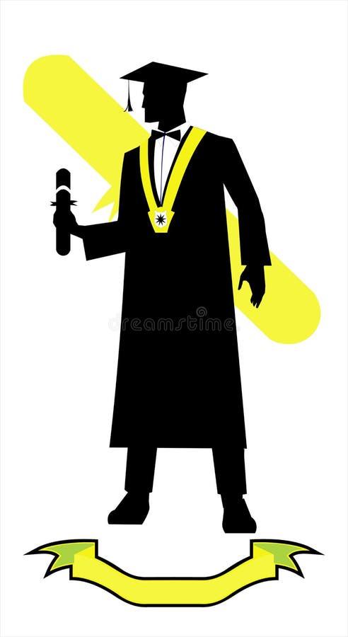 Jungakademiker, der ein Diplom, volles Körperschattenbild hält stock abbildung