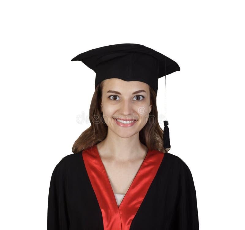 JungakademikerStudentin im Umhang, lokalisiert auf weißem Hintergrund stockbilder