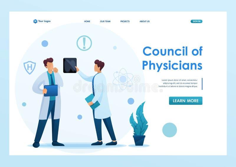 Junge Ärzte diskutieren die Ergebnisse der Studie des Patienten Flat-2D-Zeichen Landing Page Konzepte und Web Design lizenzfreie abbildung