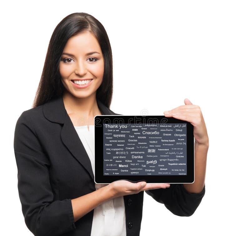 Junge, überzeugte, erfolgreiche und schöne Geschäftsfrau lizenzfreies stockbild