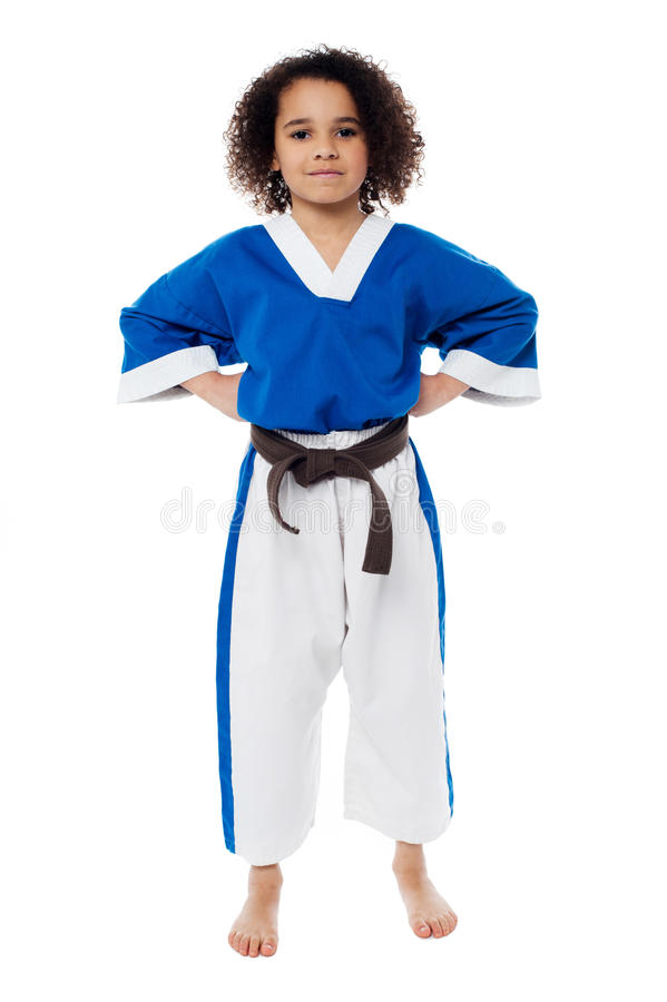 Junge überzeugte Karatekinderaufstellung stockfotos
