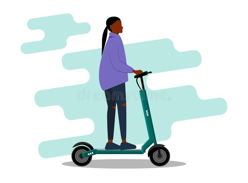 Junge afrikanisch-amerikanische Frau, die auf einem Roller im Freien reitet Lächelnde Frau, die auf einem Roller unterwegs ist Gl lizenzfreie abbildung