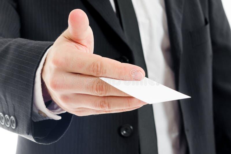 Anbietenkarte des Geschäftsmannes lizenzfreie stockfotos