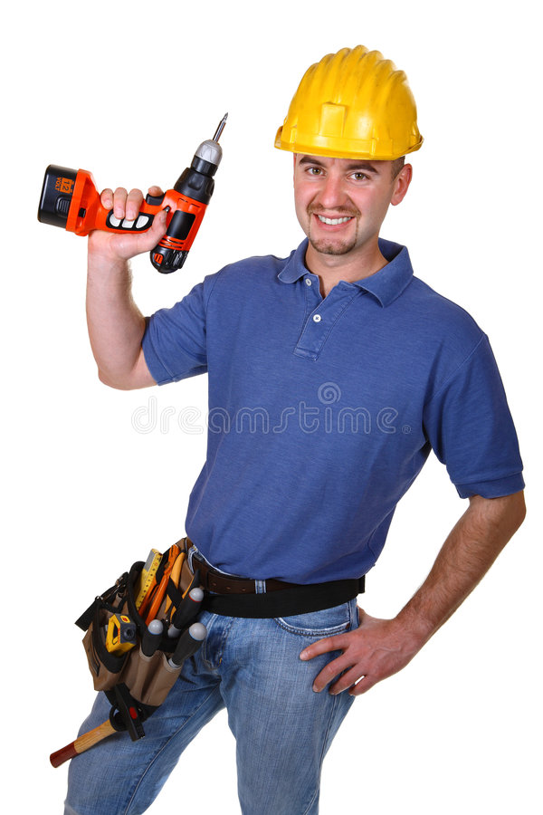 Junge Arbeitskraft des Mannes mit Bohrgerät stockfoto