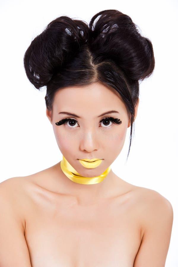Junge asiatische Frau mit kreativer Verfassung stockbild