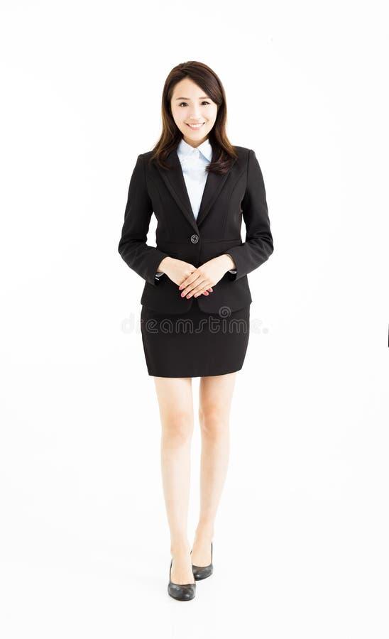Junge asiatische Geschäftsfraustellung lizenzfreie stockfotos