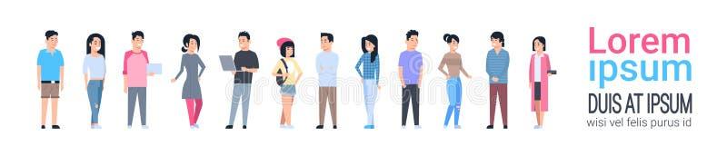 Junge asiatische Mann-und Frauen-Ikonen chinesisch eingestellt oder japanischer Mann und weibliches in voller Länge lokalisiert lizenzfreie abbildung