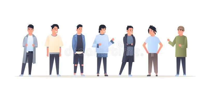 Junge asiatische Manngruppe, welche die glücklichen attraktiven Kerle der zufälligen Kleidung zusammen stehen chinesische oder  vektor abbildung