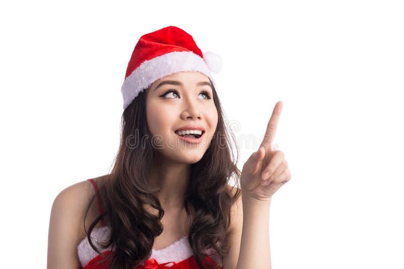 Junge Asiatssankt-Frau, die herauf die Anwendung des Zeigefingers, lokalisiert zeigt lizenzfreie stockbilder