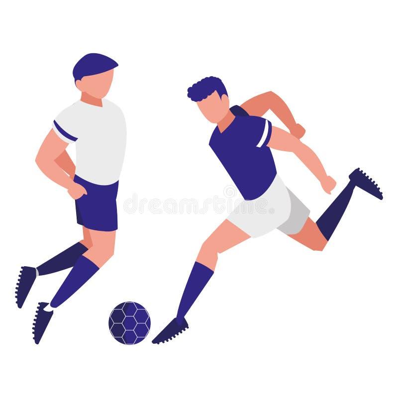 Junge Athleten, die Fußball spielen stock abbildung