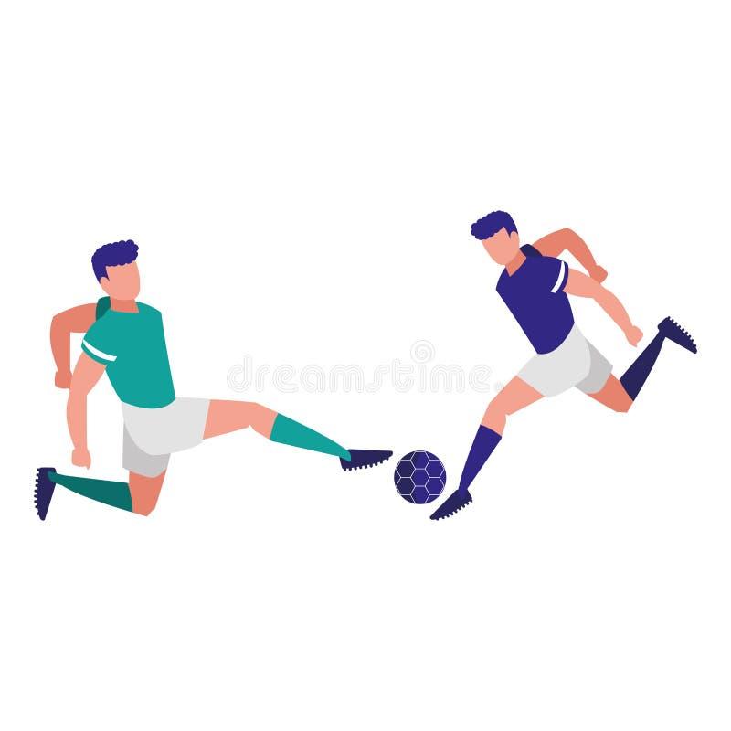 Junge Athleten, die Fußball spielen lizenzfreie abbildung