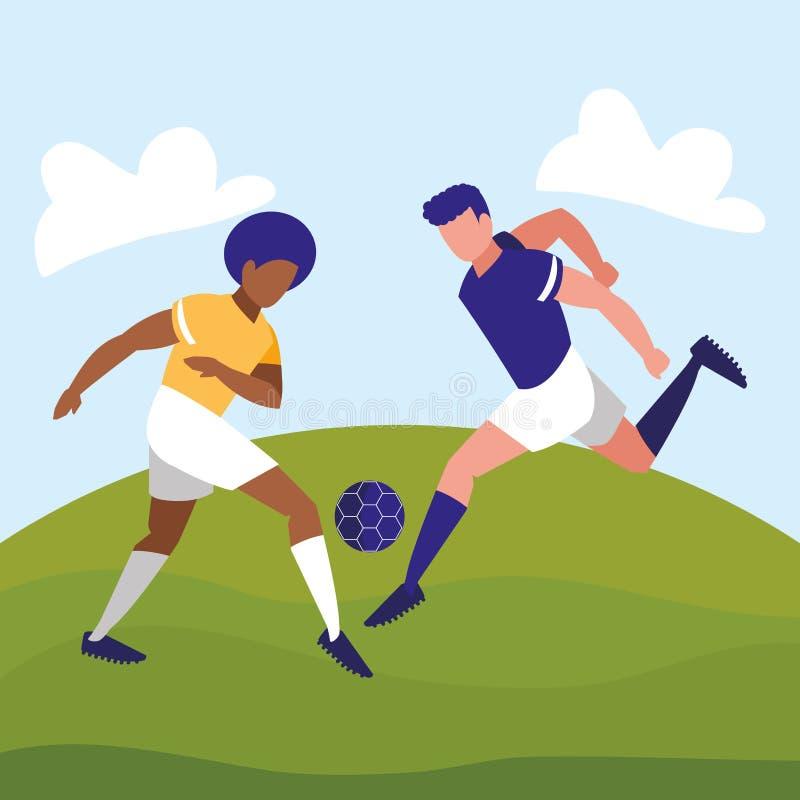 Junge Athleten, die Fußball spielen vektor abbildung