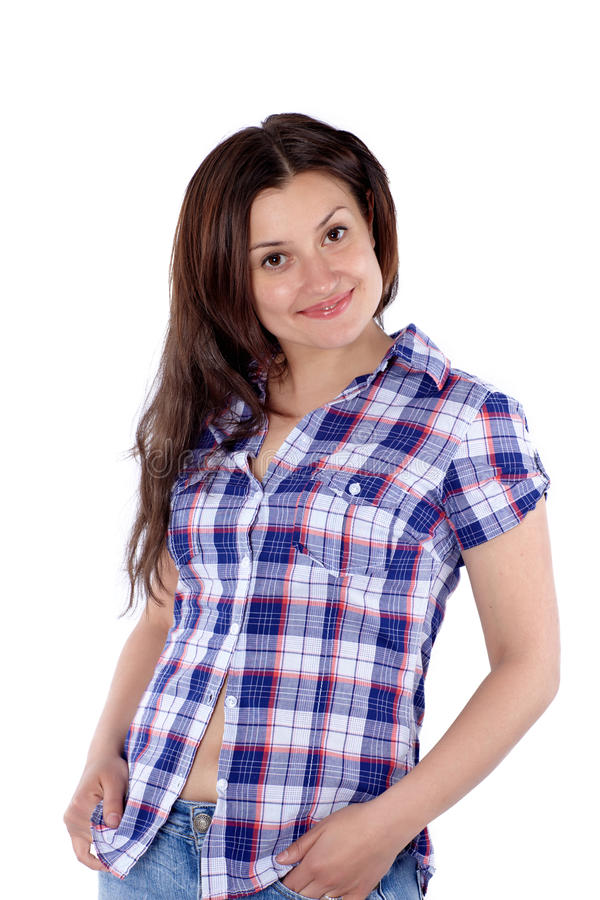 Junge attraktive Frau im quadratischen Hemd lokalisiert stockfotos