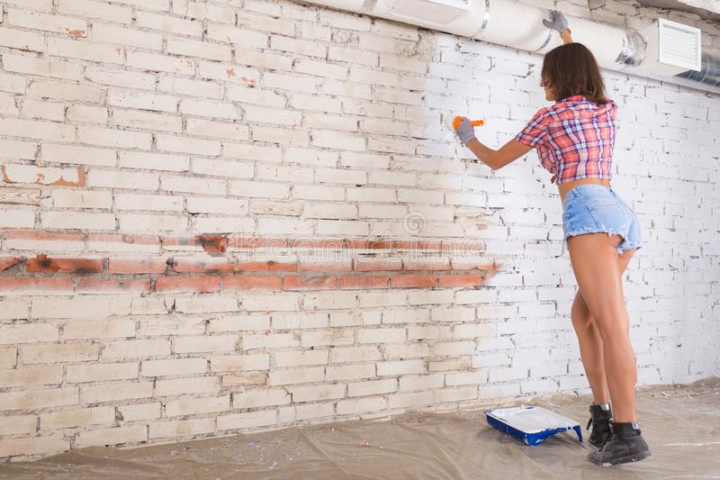 Junge attraktive Frau malt weiße Backsteinmauer und Pinsel stockbilder