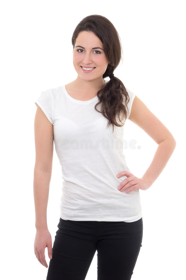 Junge attraktive Frau in weißem T-Shirt Lächeln lokalisiert auf Whit stockfotos