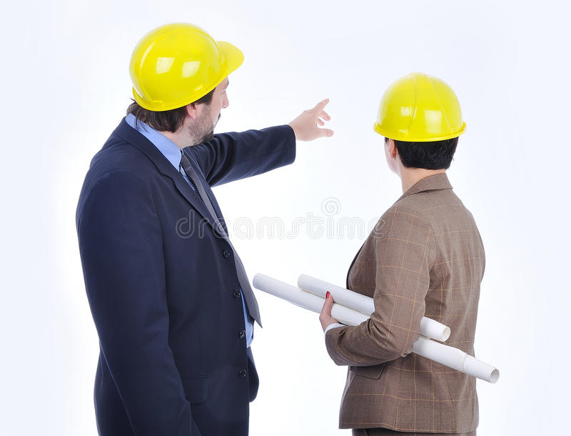 Junge attraktive Ingenieure stockbild