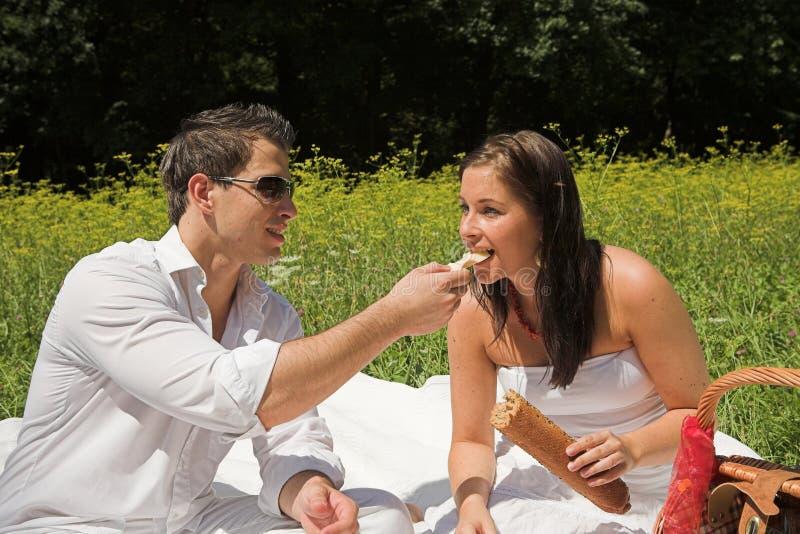 Junge attraktive Paare, die ein picknick haben lizenzfreie stockbilder