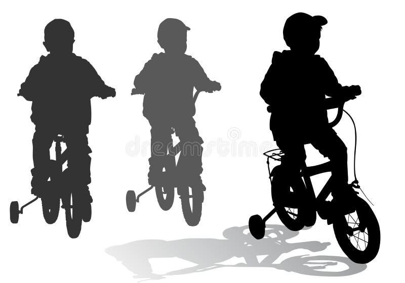Junge auf Fahrrad stock abbildung