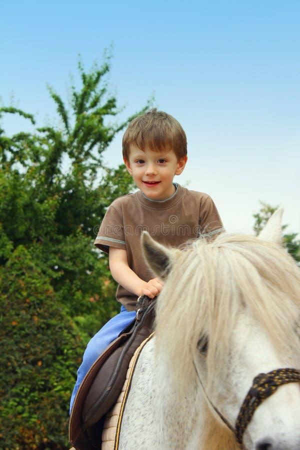 Junge auf Pferd stockfoto