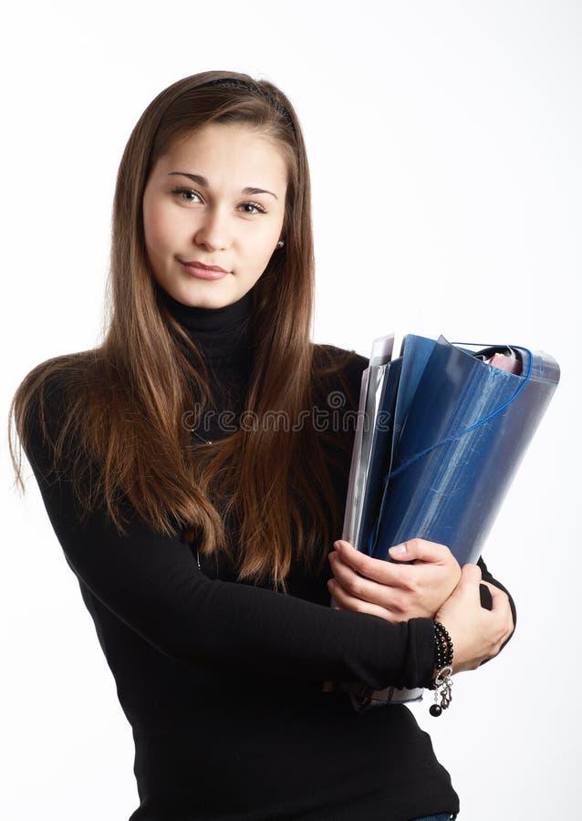 Junge Bürosekretärinfrau stockbild